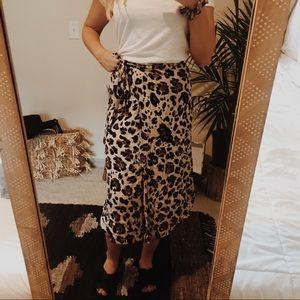midi leopard wrap skirt